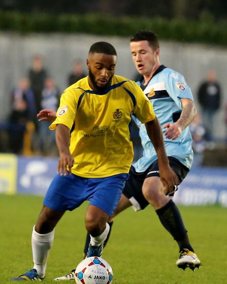 Ian Gayle in action against Wealdstone. Picture: Leigh Page
