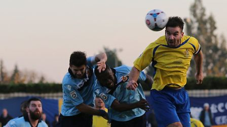 Ben Martin directs the ball towards goal. Picture: Leigh Page
