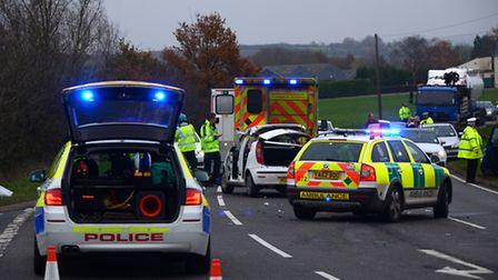 Emergency services at the crash in Heath Road, Warboys. Picture: BRIAN LEEMING