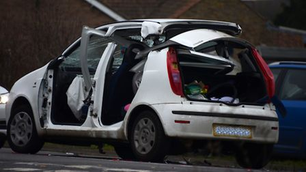 A car involved in the crash in Heath Road, Warboys. Picture: BRIAN LEEMING