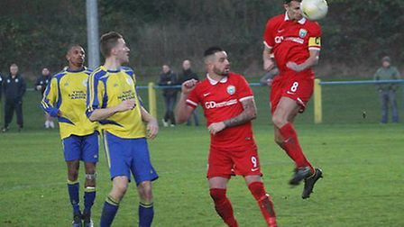 Greg Shaw heads London Colney in front against Sun Sports. Picture: James Whittamore