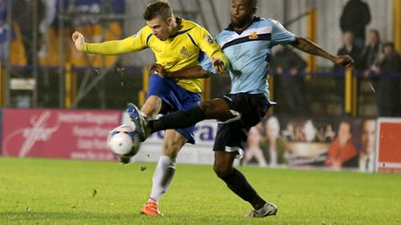 Lee Chappell has a shot at goal blocked. Picture: Leigh Page