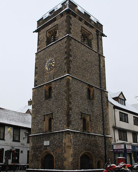 St Albans clock tower in the snow
