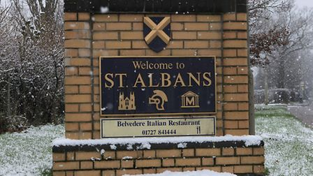 Snow falling in St Albans