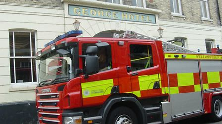 Fire engine outside the George Hotel.