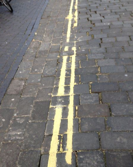 Botched yellow lines in St Albans' historic streets. Photo courtesy of Stephen Potter