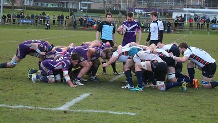 OAs and Loughborough Students contest a scrum. Picture: Loughborough Students
