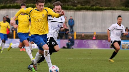 Elliot Bailey breaks through the Boreham Wood defence. Picture: Leigh Page