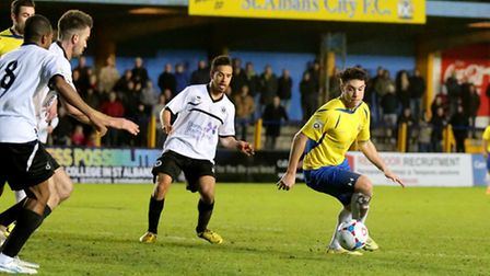 Cameron Lancaster breaks into the Boreham Wood box. Picture: Leigh Page