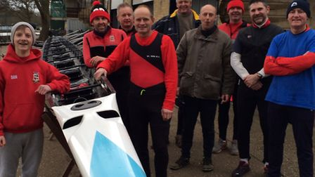 The St Ives Rowing Club Masters eight crew are, left to right, Dan Clough (cox), Gary Gilbey, Colin