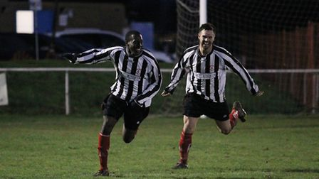 Courtney Lawrence wheels away after scoring the winner in the Colney derby on December 13.