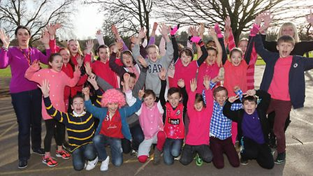 Year 6 pupils at Molly Goodchild's old school, Redbourn Juniors, including Molly's brother Freddie (