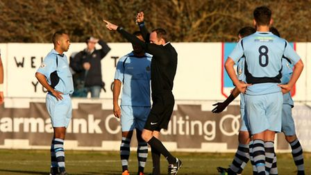 Referee Ian Cooper dismisses James Comley inside the first 10 minutes of the game. Picture: Leigh Pa