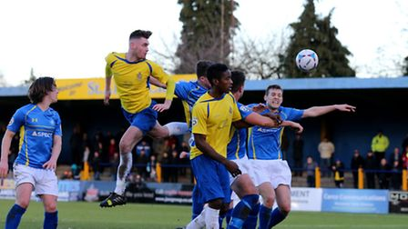 James Kaloczi heads powerfully towards goal. Picture: Leigh Page