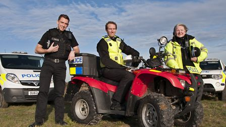 PC Mike Hardiman, PCSO Chris Brabrook, PCSO Penny Tomsett on the beat.