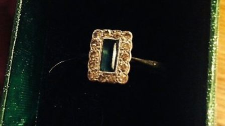 This gold, emerald and diamond ring was stolen during a Barkway burglary.