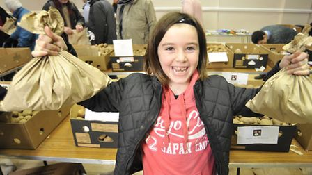 Maddison Jones, from Huntingdon, with her potatoes.
