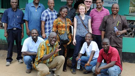Cathy with the Liberia WASH (Water, Sanitation and Hygiene team) in Monrovia