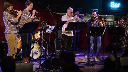 Laura, far left, performing on stage. Picture: Andy Sheppard for London Jazz Festival, 2013.