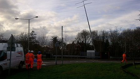 Emergency repairs had to be carried out to a phone mast on the railway embankment, as can be seen fr
