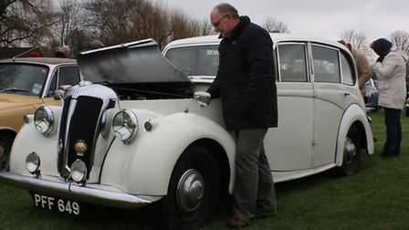 Cambridge and District Classic Car ClubChairman, David Hunns from Ely, displays his 1951 Daimler C