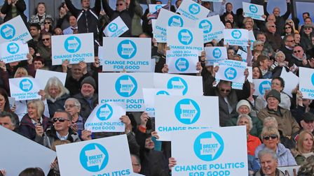Supporters at a Brexit Party rally. Photograph: Peter Byrne/PA.