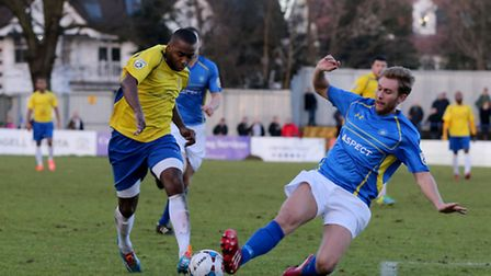 Michael Malcolm in action against Concord Rangers. Picture: Leigh Page