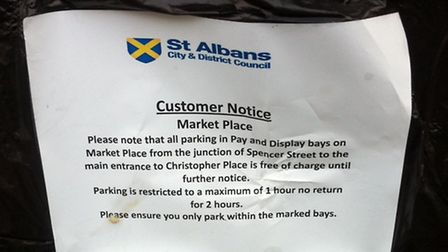 One of the parking notices in Market Place, St Albans