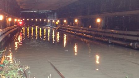 Flooding in the tunnel between Farringdon and London St Pancras