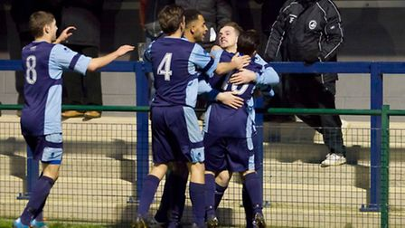 Ben Ford celebrates his winning goal for St Neots Town against Biggleswade Town on January 17.