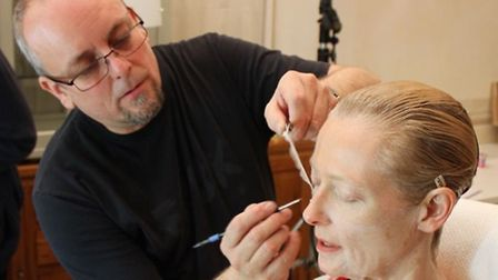 Mark applying prosthetic makeup to Tilda Swinton - the work that saw him nominated for an Oscar gong
