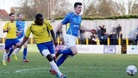 Michael Malcolm slots home the Saints' first goal of the afternoon. Picture: Leigh Page
