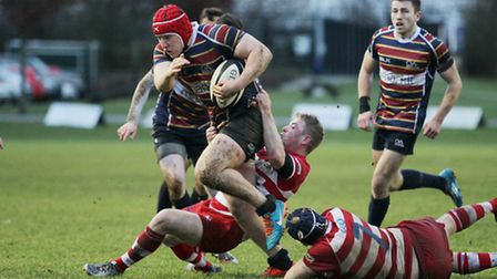 Max Wilkins tries to break through the Coventry defence