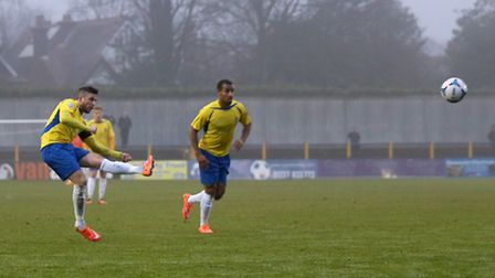 Lee Chappell opening the scoring with a free-kick from 25 yards. Picture: Leigh Page