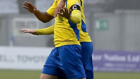 Lee Chappell celebrates his opening goal of the afternoon. Picture: Leigh Page