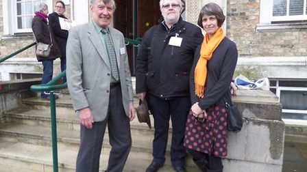 Susan with Alan Edwards from Cambridge Dial-a-Ride and David Wherrell from Royston and District Comm