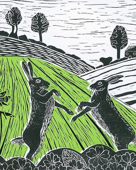Hares in the Spring by Anna Pye