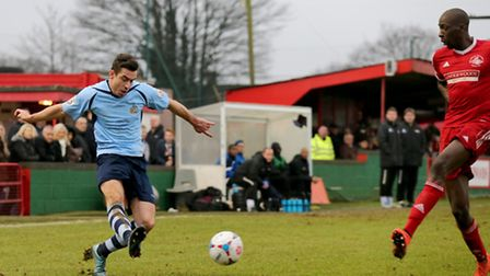 Steve Wales in action against Hemel Hempstead Town on New Year's Day. Picture: Leigh Page
