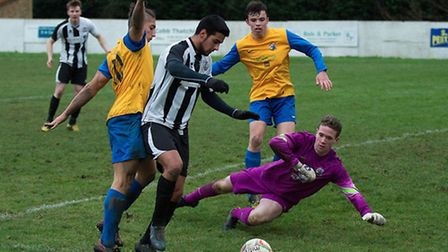 Kieran Fitzgerald in action for St Ives Town during their 4-2 defeat against Royston Town on Boxing