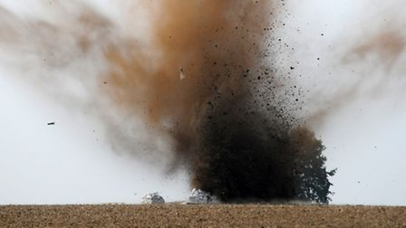 A controlled explosion of munitions found in St Albans