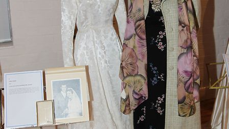 Wedding dress exhibition organiser Shirley Barber with her wedding dress on display in St Mary's chu