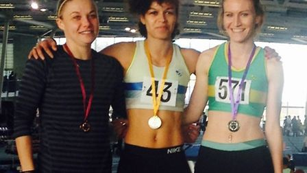 Siobhan Skinner (right) of Hunts AC won a silver medal at the Eastern Indoor Championships.