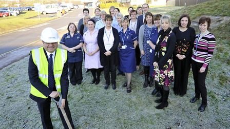 Woodlands staff who have led the fundraising, with, front, hospital chief executive Hisham Abdel-Rah