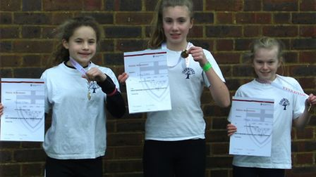 Crabtree Junior School won the girls' district cross country competition for the first time.