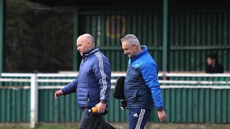 Harpenden Town manager Danny Plumb walks to the dugout