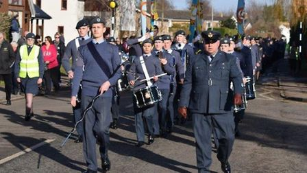Cadets from 2484 Bassingbourn parading in Melbourn.