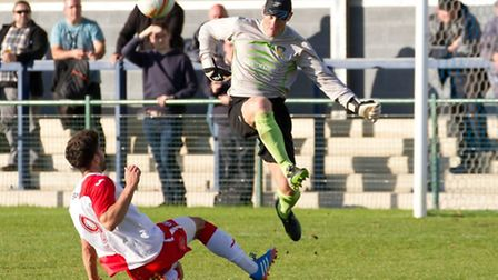 St Neots Town goalkeeper Paul Bastock in action.