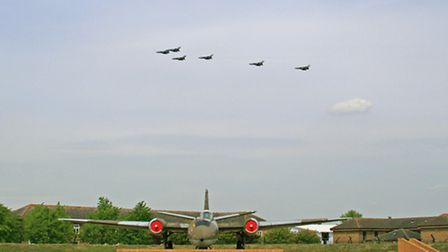 RAF Tornadoes pass over RAF Wyton on their last flight before being grounded.