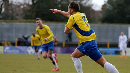 Sam Corcoran makes a point after scoring the opener. Picture: Leigh Page