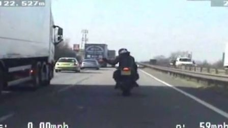 Motorcyclist caught carrying out dangerous manoeuvre on A14,